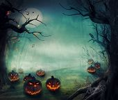 stock photo of blue moon  - Halloween design  - JPG
