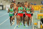 BARCELONA - JULY, 14: Competitors on 5000 meters event of the 20th World Junior Athletics Championsh