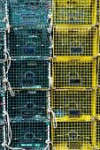 stock photo of lobster trap  - Ten Green and Yellow Stacked Lobster Traps - JPG