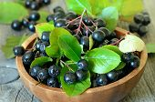 stock photo of chokeberry  - Black chokeberry in brown bowl on wooden table - JPG