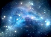 stock photo of nebula  - Blue space star nebula in Gas - JPG