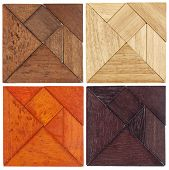 picture of tangram  - four tangram sets in different wood - JPG