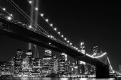 stock photo of memorial  - Brooklyn Bridge and the Towers of Lights  - JPG