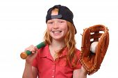 image of hitter  - Happy red haired baseball girl on white background - JPG