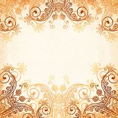 pic of mehndi  - Ornate vintage circle vector seamless pattern in mehndi style - JPG