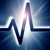 image of blue-screen-of-death  - heart beat on display on a blue background - JPG