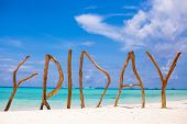 picture of boracay  - Word Friday made of wood on Boracay island background turquoise sea - JPG