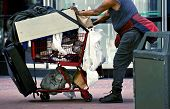 stock photo of beggar  - Homeless with Shopping Cart in San Francisco California USA - JPG