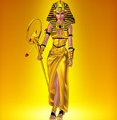 stock photo of pharaoh  - A powerful Egyptian woman who has anointed herself pharaoh - JPG