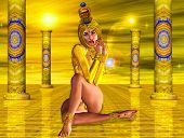 pic of headdress  - Egyptian woman sitting on reflective golden floor wearing fashion jewelry headdress - JPG