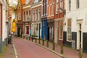 image of bike path  - empty  street in old town of Haarlem - JPG