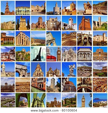 a collage of many pictures of different european landmarks, such as the Eiffel Tower in Paris, the Colosseum in Rome or the Big Ben Tower in London