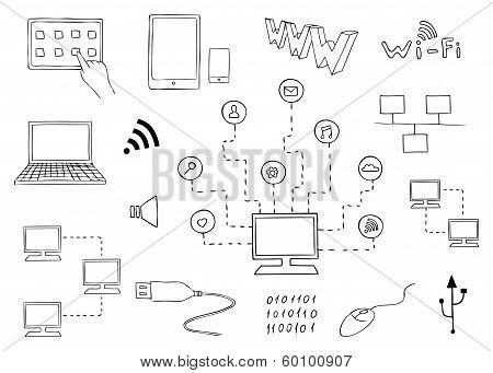 Computer Technologies And Internet Communication Vector Set