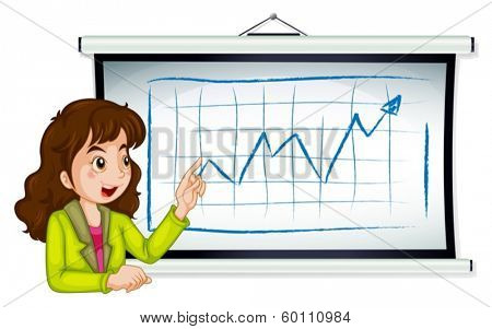 Illustration of a lady explaining the graph on a white background