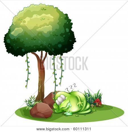 Illustration of a fat green monster sleeping under the tree on a white background