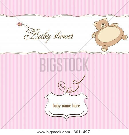 Romantic Baby Girl Announcement Card With Teddy Bear