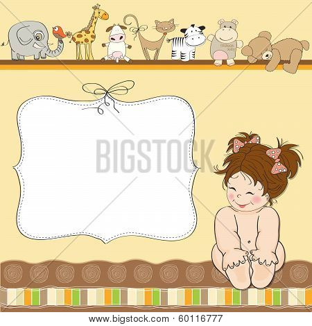 New Baby Announcement Card With Little Girl