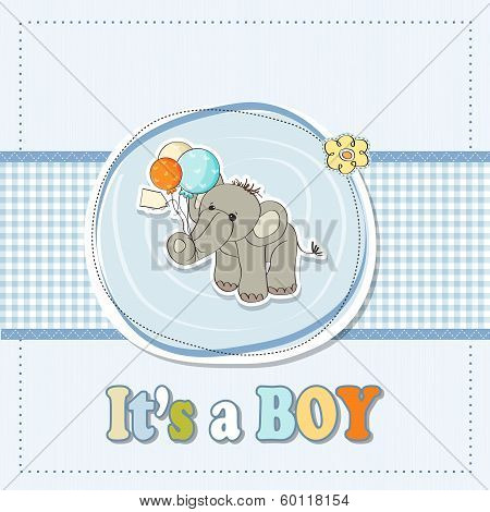 Baby Boy Shower Card With Elephant And Balloons