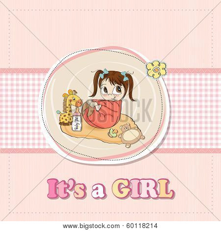 Little Baby Girl Play With Her Toys. Baby Girl Shower Card