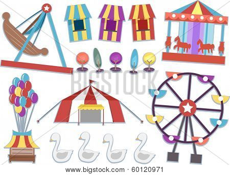 Illustration Featuring Different Rides Commonly Found in Carnivals