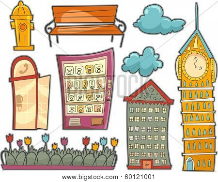 Illustration Featuring Different Fixtures Commonly Found in Streets