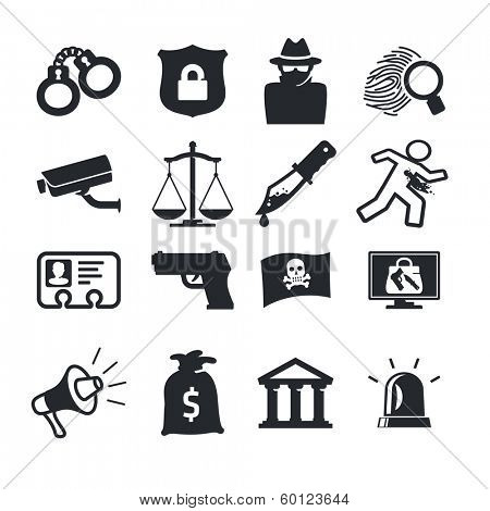 Crimes icons set