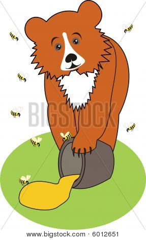 Baby Bear  (Grizzly)  with Honey on the Green Grass and Bees
