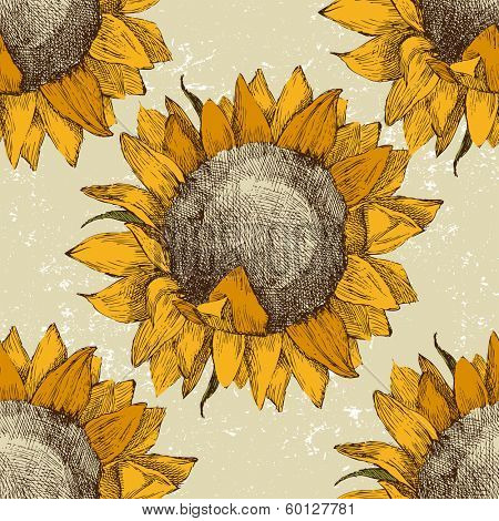 seamless vintage ornament with sunflowers