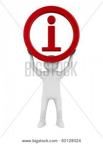 symbol information on white background. Isolated 3D image