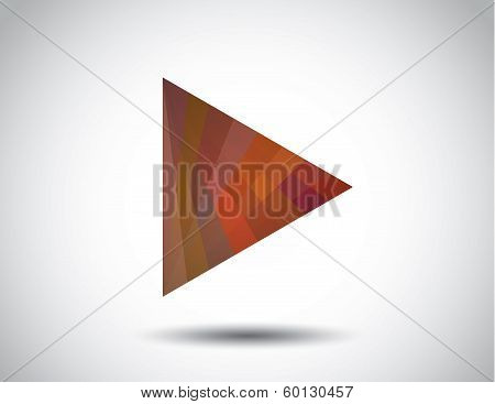 Red Colorful Gradient Triangle Play Icon With White Background