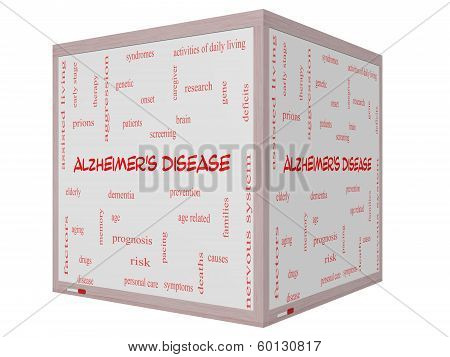 Alzheimer's Disease Word Cloud Concept On A 3D Cube Whiteboard