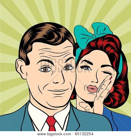 Man And Woman Love Couple  In Popart Comic Style