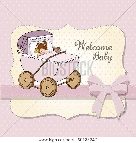 Baby Girl Shower Card With Retro Strolller