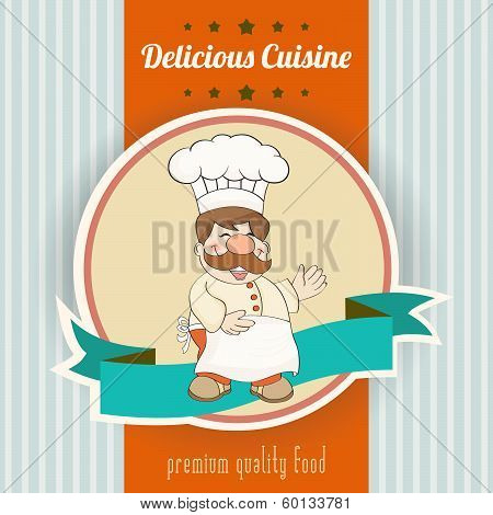 Retro Illustration With Cook And Delicious Cuisine Message