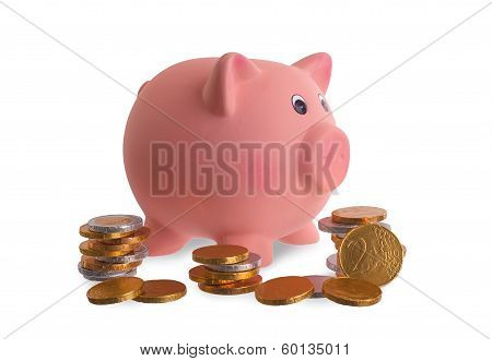 Euro Currency, Chocolate Coins With Piggy Bank