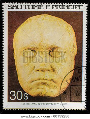 SAO TOME AND PRINCIPE - CIRCA 1979. A postage stamp printed by S.Tome and Principe shows image portrait of Ludwig van Beethoven (death mask), Composer, circa 1979.