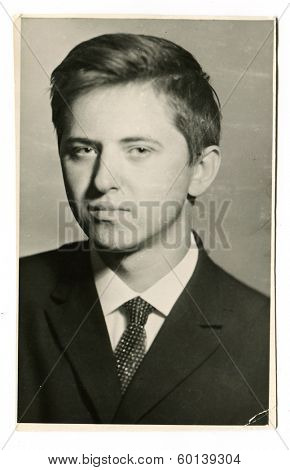 MOSCOW, USSR - CIRCA 1960s: An antique photo shows portrait of a  young man
