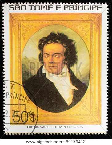 SAO TOME AND PRINCIPE - CIRCA 1979. A postage stamp printed by S.Tome and Principe shows image portrait of Ludwig van Beethoven, Composer, circa 1979.
