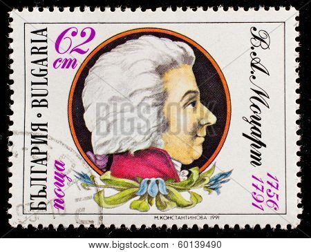 BULGARIA - CIRCA 1991: A stamp printed in Bulgaria shows Wolfgang Amadeus Mozart , circa 1991