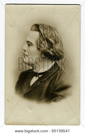 MOSCOW, USSR - CIRCA 1890S: An antique photo shows studio portrait of Anton Rubinstein, Russian composer, pianist, conductor and music teacher.
