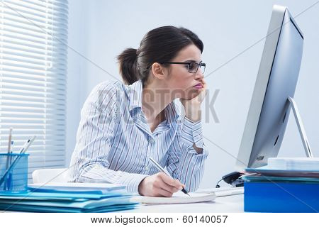 Bored Woman At Office