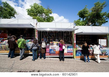 Lisbon, Portugal. May 30, 2013: Lisbon Book Fair- Feira do Livro de Lisboa, held in Eduardo VII Park. The largest book-fair in Portugal.