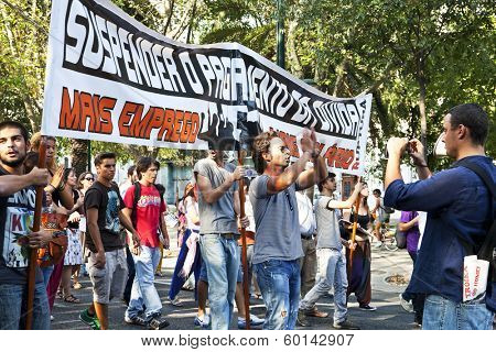 Lisbon, Portugal. October 01, 2011: Young adults in demonstration against IMF / austerity plan and for employment, salaries and pensions.