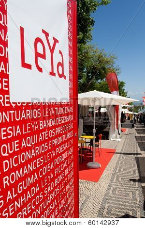 Lisbon, Portugal. May 30, 2013: LeYa stands in the Lisbon Book Fair, organized at Eduardo VII Park. LeYa is the largest publisher group in Portugal.