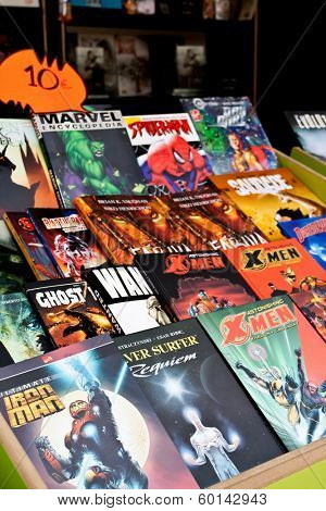 Lisbon, Portugal. May 30, 2013: Comic Books of several Marvel Super-Heroes, in the Lisbon Book Fair organized at Eduardo VII Park.