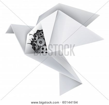 Mechanical origami pigeon