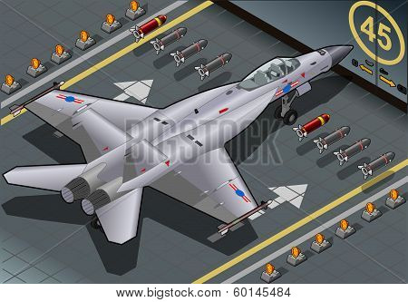 Isometric Fighter Bomber Landed In Rear View
