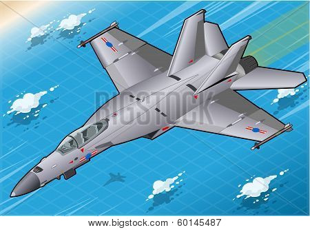 Isometric Fighter Bomber In Flight In Front View