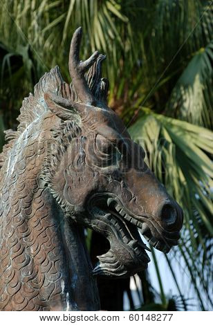 Sea horse with child sculpture, the tale of Thailand
