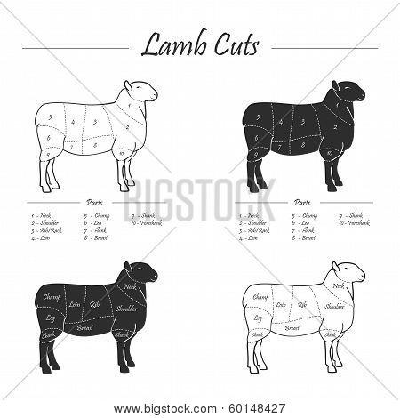 Lamb cut scheme - b&w